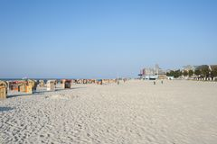 Beach in Laboe. Beach with canopied wicker beach chairs in Laboe at the Baltic Sea Stock Photography