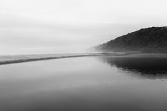 Beach Lagoon Black White Solitude Stock Photo