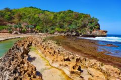 Beach lagoon separated from sea surf by reef barrier Stock Image