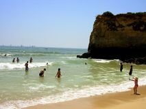 Beach in Lagos. The sea in Lagos in the Algarve. Here fantastic beaches with grottos and interesting rocky formations exist royalty free stock photo