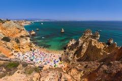 Beach in Lagos - Algarve Portugal. Beach in Lagos - Algarve region in Portugal Royalty Free Stock Images