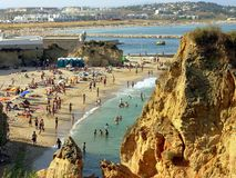 Beach in Lagos I. The sea in Lagos in the Algarve. Here fantastic beaches with grottos and interesting rocky formations exist royalty free stock images