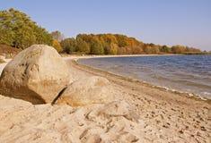Beach at lake Stock Image