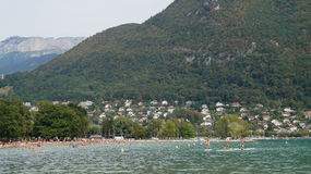 Beach of Lake Annecy, France Royalty Free Stock Images