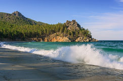 The beach at Lake Baikal Royalty Free Stock Images