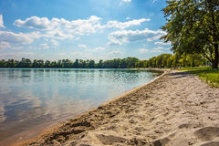 Beach at lake Bassin des Mouettes, France Stock Photo