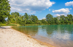 Beach at lake Bassin des Mouettes, France Stock Images