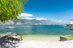 Beach on Lake Garda, Italy. Beautiful view on Lake Garda in northern Italy royalty free stock photo