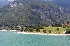 Beach on lake Molveno in Italy Stock Image