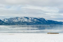 Sand snow harbor during winter, Lake Tahoe, USA. Royalty Free Stock Image