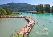 Beach on Lake Worth. Resort Portschach. Austria Stock Image