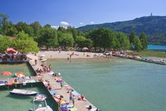 Beach on Lake Worth. Resort Portschach. Austria Royalty Free Stock Photo