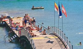 Beach on Lake Worth. Resort Portschach. Austria Stock Images