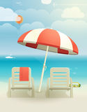 Beach Landcape With Chairs Royalty Free Stock Photography