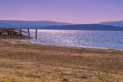 Beach with landing stage. On Lipno lake Stock Photography
