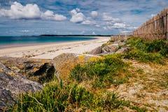 Beach of Landrezac, Sarzeau, Morbihan, Brittany (Bretagne), Fran. Ce stock photography