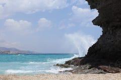 Beach landscape. Crashing waves at deaths beach in Spain stock photo