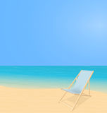 Beach landscape with deck chair Royalty Free Stock Images