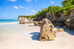 Beach, landscape of Dominican Republic. Coastal rocks on Macao Beach, landscape of Dominican Republic, Hispaniola Island Royalty Free Stock Photography