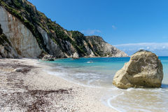 Beach landscape in Kefalonia, Greece. With rock in the foreground Stock Photo