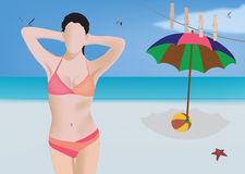 Beach landscape with model Royalty Free Stock Photo