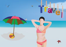 Beach landscape with model Royalty Free Stock Photography