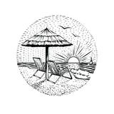 Beach landscape with parasol and two chairs. Round sea vacation emblem, card or design element. stock illustration