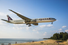 The beach landscape, the plane comes in the land Stock Images