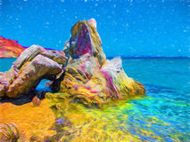 Beach landscape with rock. Water flow over beach rock. Tropical island illustration. Summer travel card. Royalty Free Stock Image