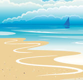 Beach Landscape. Landscape with beach, sea, boat and clouds illustration Stock Images