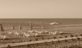 Beach landscape on the seashore of sepia color Royalty Free Stock Photos