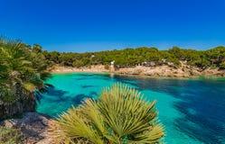 Beach landscape at seaside of Mallorca, Spain Mediterranean Sea. Beach Majorca island, beautiful bay of Cala Gat, Spain Mediterranean Sea Stock Photo