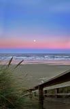 Beach landscape at sunrise. Beautiful beach sunrise over the ocean, Newport Beach, Oregon Royalty Free Stock Image