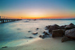 Beach Landscape At Sunset Royalty Free Stock Photos