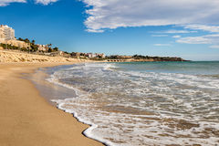 Beach landscape. In Tarragona city, Spain Stock Images