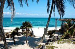 Beach Landscape in Tulum. On a bright sunny day Royalty Free Stock Images