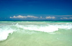 Beach Landscape in Tulum. On a bright sunny day Royalty Free Stock Photos