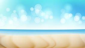 Beach Landscape Vector Summer Scene. Blur Tropical Sea. Beach Seaside Sea Shore Clouds. Beautiful Illustration Royalty Free Stock Photo