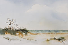 Beach Landscape Watercolour Royalty Free Stock Image