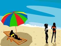 Beach landsdape. Ladies on the beach illustration Stock Image