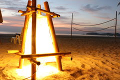 Beach Lantern at Thailand Island. Light from Beach Lantern and Beach Volleyball in the Evening at PhaYam Island, Thailand Stock Image