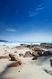 Beach with large boulders Royalty Free Stock Photo