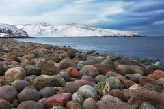 Beach with large round stones Royalty Free Stock Photography