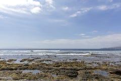 Beach in Las Americas. Beach for surfers, in Tenerife, Spain. Stone beach. Playa de las Americas, Tenerife. stock image