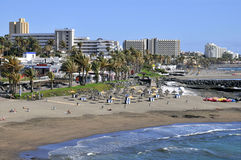Beach of Las Americas at tenerife. View aerial the beach and buildings of Las Americas of the southwest part of Tenerife in the Spanish Canary Islands stock images