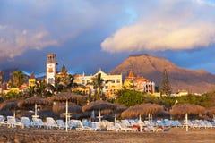 Beach Las Americas in Tenerife island - Canary. Spain stock photo