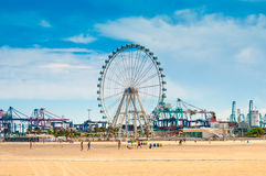 Beach Las Arenas and Ferris Wheel in Valencia, Spain Royalty Free Stock Image