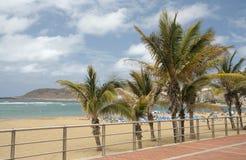 Beach in Las Palmas. City Beach Las Canteras in Las Palmas de Gran Canaria, Spain stock images