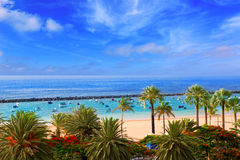 Beach Las Teresitas in Santa cruz de Tenerife north. At Canary Islands Stock Photos