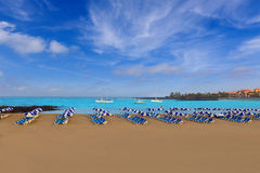 Beach Las vistas in Adeje Arona at Tenerife south Stock Images